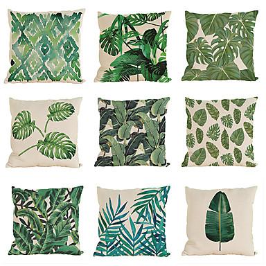 9 PC Lino Funda de almohada Cobertor de Cojín, Un Color Con Texturas Casual Tropical Estilo playero Tradicional/Clásico