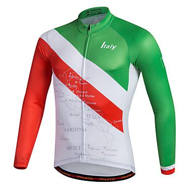 Miloto رجالي كم طويل جورسيه الدراجة مخطط كلاسيكي الدراجة Shirt قميص طويل الذراعين جورسيه, متنفس سريع جاف شرائط عاكسة 100 ٪ بوليستر / قابل للبسط / متقدم / يلف العرق