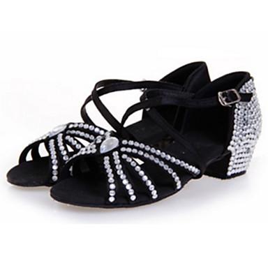 Mulheres Sapatos de Dança Latina Cetim Sandália Cristais / Gliter com Brilho / Salto em Cristal Salto Agulha Personalizável Sapatos de