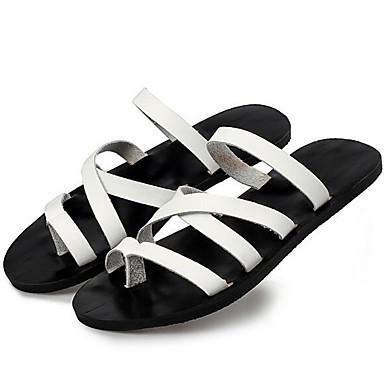 Homens Sapatos de couro Pele Primavera / Verão / Outono Conforto Chinelos e flip-flops Água Branco / Preto / Castanho Claro