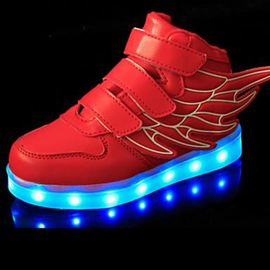 Para Meninas Sapatos Couro Ecológico Primavera / Verão / Outono Conforto / Inovador Tênis Caminhada Velcro / LED para Verde / Azul / Rosa claro