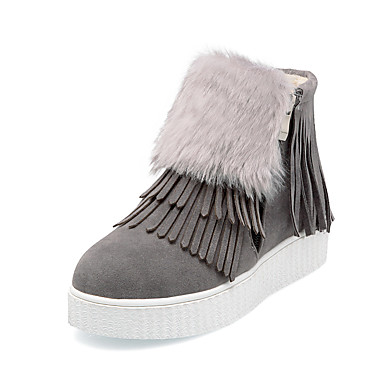 Mujer Zapatos Piel / Vellón Otoño / Invierno Confort / Botas de nieve Botas Senderismo Plataforma Dedo redondo Cremallera / Borla Negro /