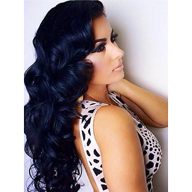 Emberi haj 360 Frontális Hullámos haj / Természetes hullám Paróka Tincselve 150% Természetes hajszálvonal / Fekete hölgyeknek Női Rövid / Közepes / Hosszú / Brazil / Laza hullám