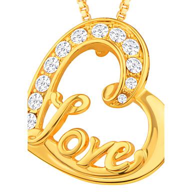 Herre / Dame Fuskediamant Anheng - Kjærlighed / Hjerte Gull Anheng Til Daglig / Avslappet