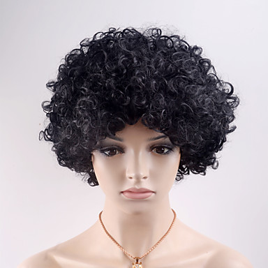 Pelucas sintéticas Rizado Pelo sintético Negro Peluca Mujer Corta Sin Tapa Negro Natural