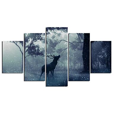billige Trykk-Trykk Strukket Lerret Trykk - Dyr Moderne Fem Paneler Kunsttrykk