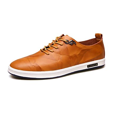 Men's Shoes Leather Spring / Fall Comfort Oxfords Walking Shoes Dark Black / Yellow / Dark Shoes Brown c88458