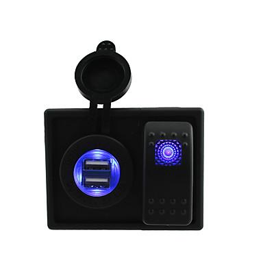 العاصمة 12V / 24V أدى 4.2A الرقمي USB مزدوج مقبس شاحن مع أسلاك الطائر التبديل الروك وصاحب السكن