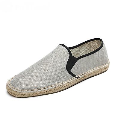 Homens sapatos Linho Algodão Verão Outono Solados com Luzes Alpargata Mocassim Mocassins e Slip-Ons Elástico Combinação para Casual