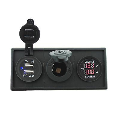 12v / 24v strøm charger3.1a usb port og strøm Ampmeter måler med boliger holder panel for bil båt lastebil rv (med dagens voltmeter)