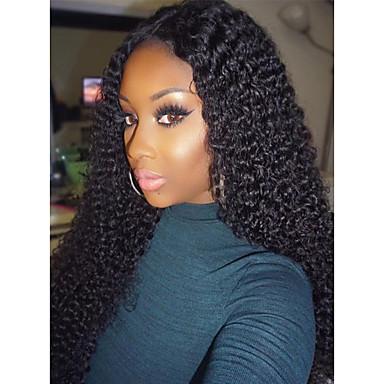 Ekte hår Blonde Forside Parykk Kinky Curly 150% tetthet 100 % håndknyttet Afroamerikansk parykk Naturlig hårlinje Kort Medium Lang Dame