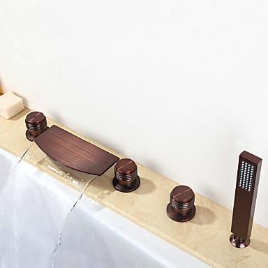 Badekarskran - Moderne Olje-gnidd Bronse Badekar Og Dusj Keramisk Ventil / Messing / Tre Håndtak fem hull