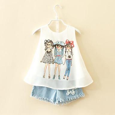 Χαμηλού Κόστους Ρούχα για Κορίτσια-Νήπιο Κοριτσίστικα Κινούμενα σχέδια Καθημερινά Στάμπα Αμάνικο Κανονικό Ρεϊγιόν Πολυεστέρας Σετ Ρούχων Λευκό