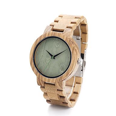 baratos Relógios Homem-Mulheres Relógio de Moda Relógio Madeira Quartzo / Madeira Banda Analógico Casual Cáqui - Café