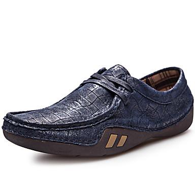 Hombre Zapatos Cuero de Napa Primavera / Verano / Otoño Confort Oxfords Negro / Azul Oscuro / Amarillo / Fiesta y Noche