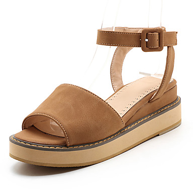 Mujer Zapatos PU Verano / Otoño Sandalias Tacón Plano Dedo redondo Hebilla Beige / Amarillo / Rosa