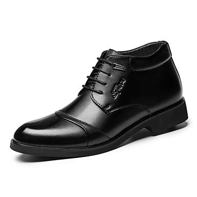 Homens sapatos Couro Primavera / Outono Conforto / Botas da Moda Oxfords Preto / Festas & Noite / Sapatos de couro