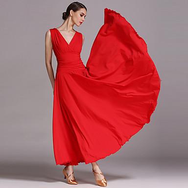 ボールルームダンス ドレス 女性用 性能 ビスコース ドレープ ノースリーブ ドレス