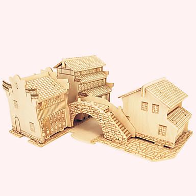 Quebra-Cabeças de Madeira Construções Famosas Arquitetura Chinesa Casa Nível Profissional De madeira 1pcs Para Meninos Dom