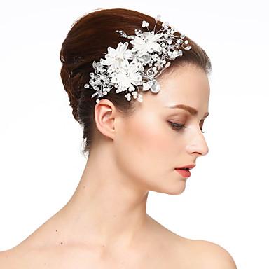 Imitert Perle / Blonde / Strass blomster / Hårklipp med 1 Bryllup / Spesiell Leilighet Hodeplagg