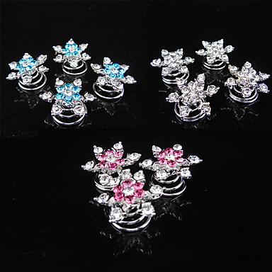 Sør-Korea fashionsnowflakes diamant skrue klemme is farger hår tilbehør 6pcs