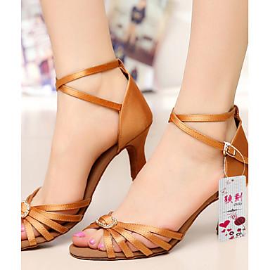 Damen Schuhe für den lateinamerikanischen Tanz Seide / Satin Sandalen Strass / Schnalle Maßgefertigter Absatz Maßfertigung Tanzschuhe