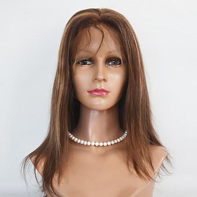 여성용 합성 레이스 프론트 가발 스트레이트 미듐 브라운 블랙 다크 브라운 딸기 금발 내츄럴 가발 코스튬 가발