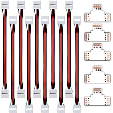 zdm 5 stk hurtig splitterkontakt 10mm t form 4 leder for 5050 rgb med 10pcs 5050 rgb strip lys kontakt