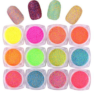 10pcs Glitter y Poudre Polvo Mate Clásico Neón y brillante Alta calidad Diario