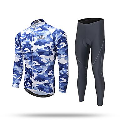 XINTOWN Herre Langermet Sykkeljersey med tights - Svart Sykkel Jersey Bukser Klessett, 3D Pute, Fort Tørring, Ultraviolet