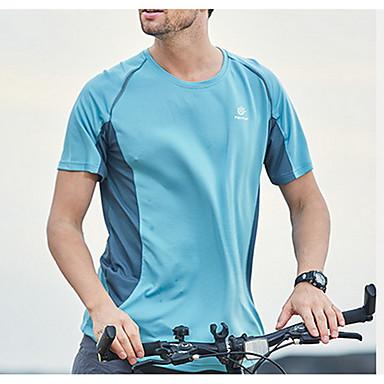 Dame Unisex T-skjorte til turbruk utendørs Sommer Fort Tørring Svettereduserende Sportsklær Klær Topper Fritidssport Blå