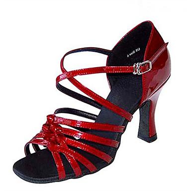 Mulheres Sapatos de Dança Latina / Sapatos de Jazz / Sapatos de Salsa Cetim / Courino Sandália / Salto Presilha / Fru-Fru Salto