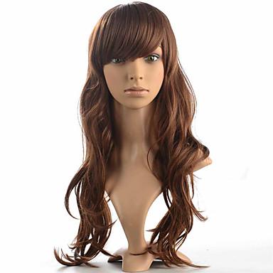 Syntetiske parykker Dyp Bølge tetthet Lokkløs Dame Brun Naturlig parykk Lang Syntetisk hår