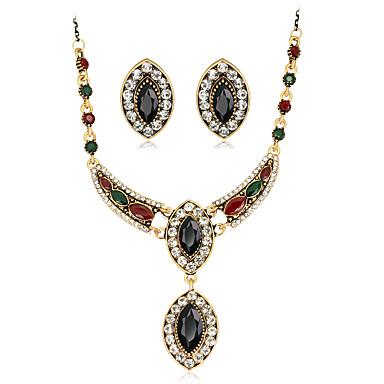 Mulheres Strass Conjunto de jóias 1 Colar 1 Par de Brincos - Euramerican Fashion Oval Preto Vermelho Verde Conjunto de Jóias Colares com