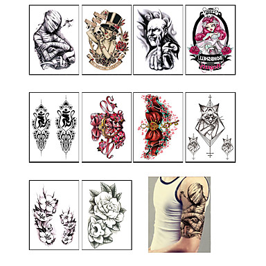 4e567e160 10PC Temporary Tattoo Sleeve Designs Full Arm Waterproof Tattoos For Cool  Men Women Transferable Tattoos Stickers