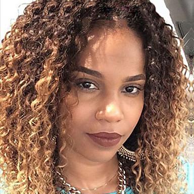 Remy-hår Blonde Forside Parykk Kinky Curly 130% tetthet 100 % håndknyttet / Afroamerikansk parykk / Naturlig hårlinje Kort / Medium / Lang