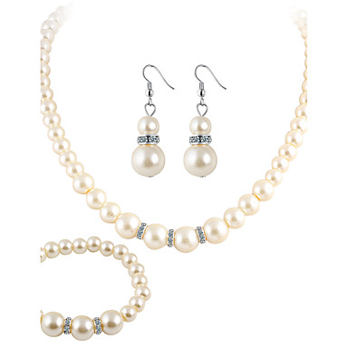 Mujer Cristal Conjunto de joyas - Perla, Cristal, Perla Artificial Lujo, Elegante, Nupcial Incluir Pendientes colgantes / Collar Blanco Para Boda / Fiesta / Diario / Brillante