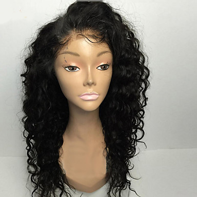 15A 15-15inch Glueless Lace Front Wigs Curly Natural Black Color ...