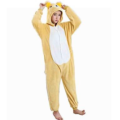 Pijamas Kigurumi Urso Pijamas Macacão Ocasiões Especiais Flanela Tosão Amarelo Cosplay Para Pijamas Animais desenho animado Dia das Bruxas