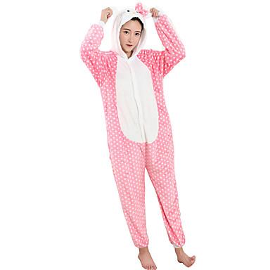 للبالغين بيجاما كيجورومي قط بيجاما ونزي كوستيوم فلانل الصوف تأثيري إلى ملابس للنوم الحيوانات رسوم متحركة هالوين عطلة / عيد / كريسماس عيد الميلاد