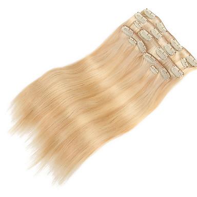 9PCS /女性のためのブロンドの16インチの20インチ100%ストレート人間の髪の毛を混ぜ髪の拡張子でデラックス120グラムクリップを設定