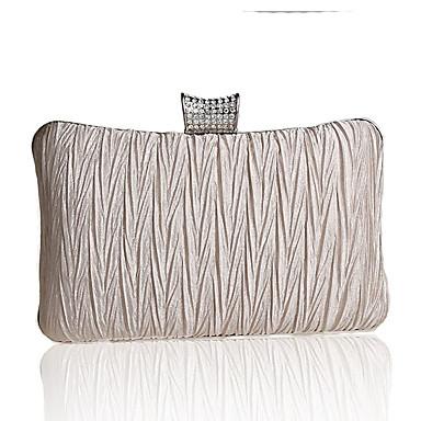 abordables Sacs-Femme Cristal / strass / Volants Polyester Pochette Sacs de soirée en cristal strass Couleur Pleine Noir / Violet / Champagne