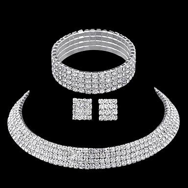 Gema Conjunto de jóias - Strass Incluir Prata Para Casamento / Festa / Casual