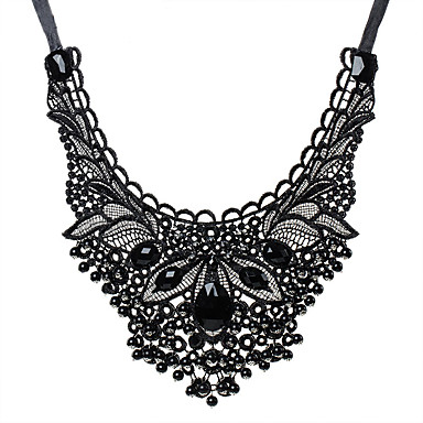 Borla Collar / Collares Declaración - Tela de Encaje, Resina Importante, Lujo, Borla Negro Gargantillas Para Fiesta, Cumpleaños, Diario