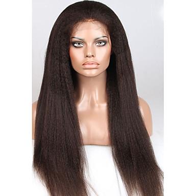 Echthaar Spitzenfront Perücke Glatt Yaki 150% Dichte 100 % von Hand geknüpft Afro-amerikanische Perücke Natürlicher Haaransatz Kurz