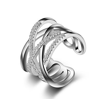 Mulheres Anel - Prata Chapeada Estiloso Ajustável Prata Para Casamento / Festa / Festa / Noite / Casual / Esportes