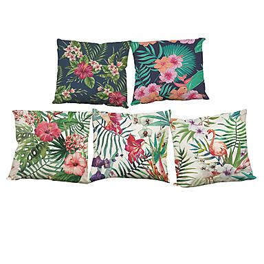 5 PC Lino Natural/Orgánico Funda de almohada Cobertor de Cojín, Un Color Floral A Cuadros Con Texturas Casual Estilo playero Euro