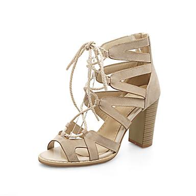 Mulheres Sapatos Courino Primavera Verão Conforto Sandálias Caminhada Salto Robusto Dedo Aberto Presilha para Social Preto Bege