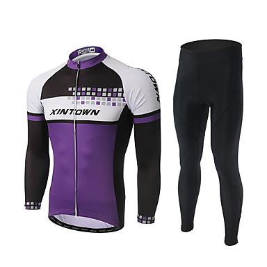 XINTOWN Herre Langermet Sykkeljersey med tights - Svart Sykkel Bukser / Jersey / Klessett, 3D Pute, Fort Tørring, Ultraviolet / Polyester