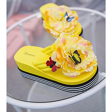 voordelige Damespantoffels & slippers-Dames Slippers & Flip-Flops Wedge Heel Flip-Flops Platte hak Ronde Teen Bloem PU Zomer Zwart / Geel / Fuchsia